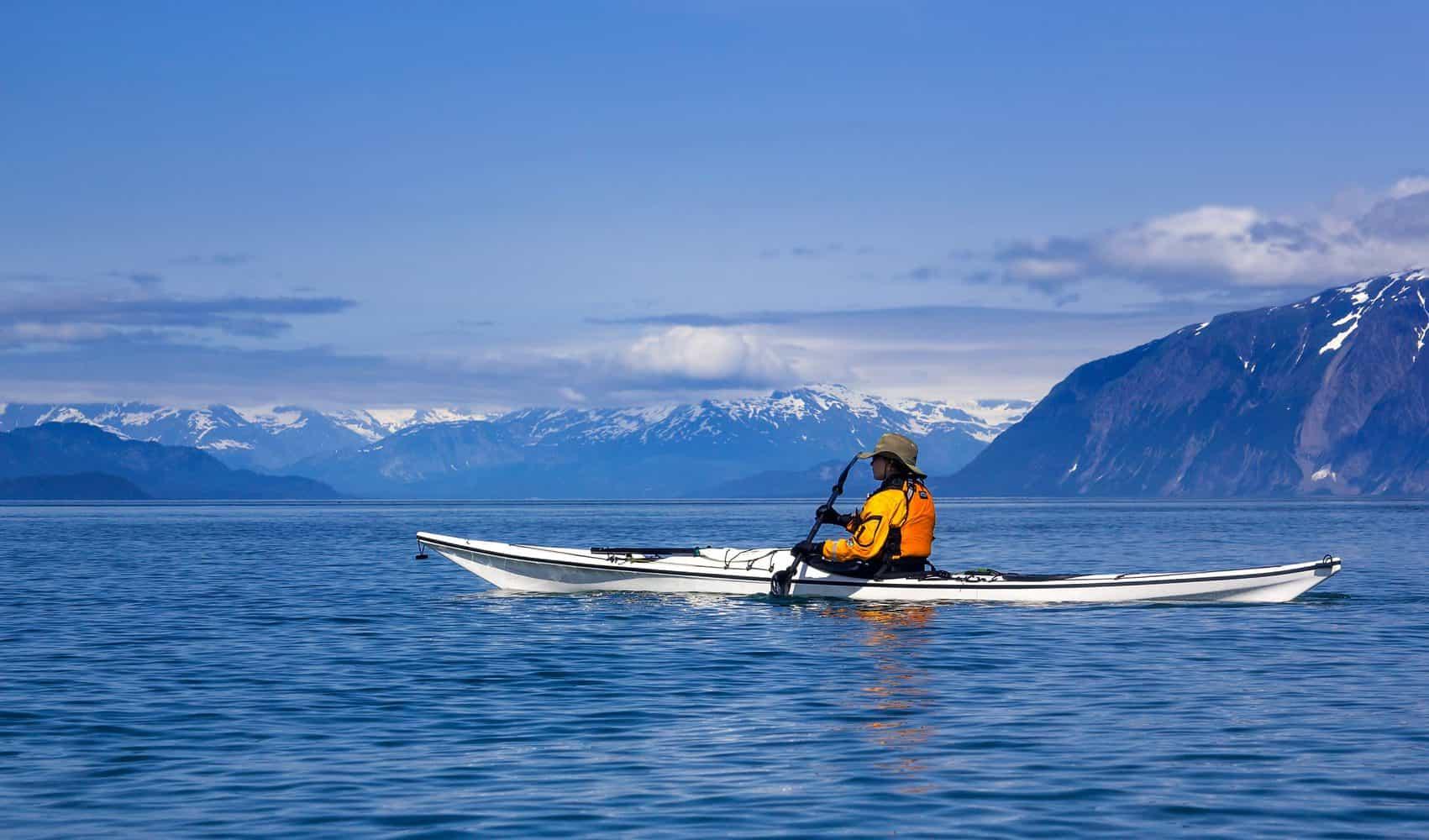Kayaker Paddling in Alaska