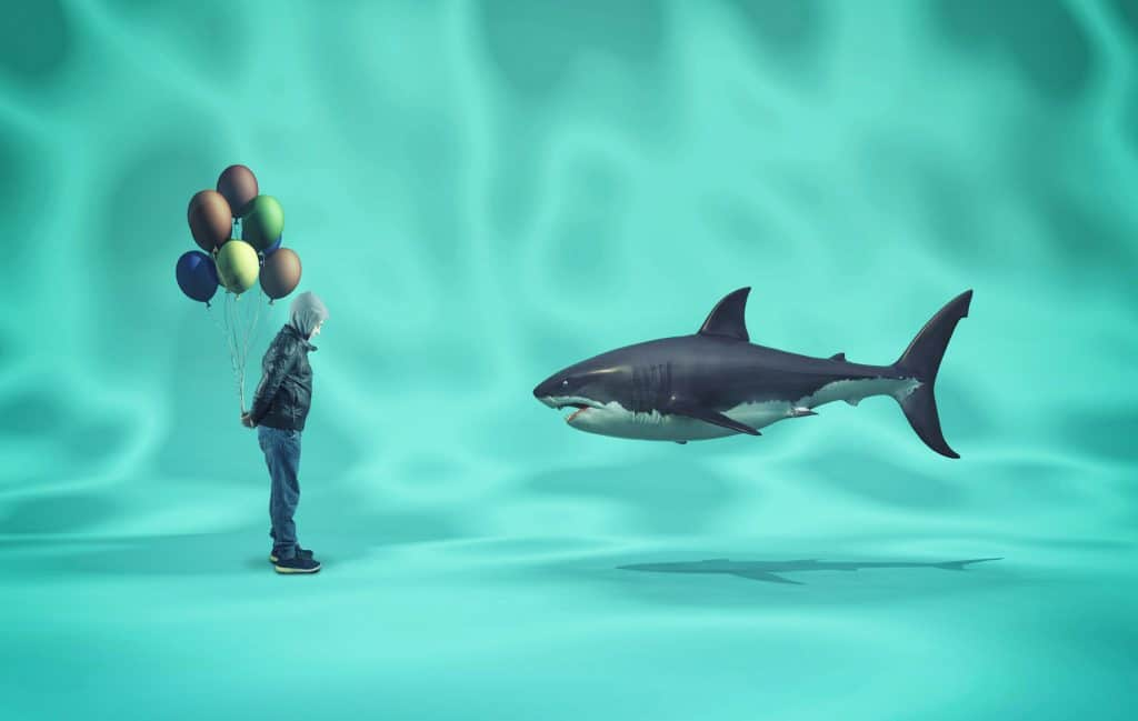 Shark and a boy with colored balloons